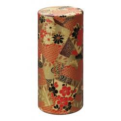 Boîte à thé fleurs rouge/doré